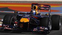 Německý pilot stáje Red Bull Sebastian Vettel během kvalifikace na VC Bahrajnu