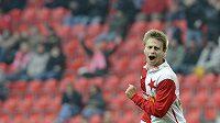 Slávistický mladík Martin Hurka se raduje z gólu.
