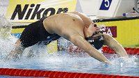 Ryan Lochte při finále závodu na 200 metrů znak na Ms v krátkém bazénu v Dubaji.