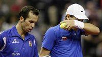 Zklamaní čeští tenisté Radek Štěpánek (vlevo) a Tomáš Berdych při čtyřhře ve finále Davis Cupu.