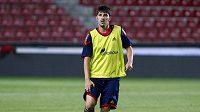 Španělský fotbalista David Villa na tréninku