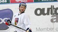 Petr Čajánek na středečním tréninku hokejové reprezentace.