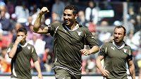 Andre Dias z Interu Milán (uprostřed) se raduje z branky. Ilustrační foto