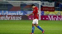 Milan Baroš odchází po prohraném utkání s Litvou.