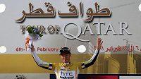Australský cyklista Mark Renshaw se raduje z vítězství závodu Kolem Kataru
