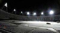 Zasněžený stadion v Londýně