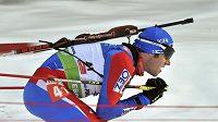 Český biatlonista Michal Šlesingr v závodě v Poljuce
