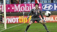 Petr Čech se chystá k zákroku v zápase s Lichtenštejnskem