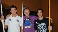 Tři závodníci pražské Dukly budou v Barceloně hájit čest české oštěpařské školy: Petr Frydrych, Jakub Vadlejch a Vítězslav Veselý (zleva).