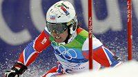 Lyžař Ondřej Bank během olympijského obřího slalomu