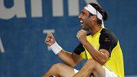 Kyperský tenista Marcos Baghdatis se raduje z vítězství nad Richardem Gasquetem ve finále turnaje v Sydney.