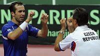 Český tenista Radek Štěpánek (vlevo) se raduje s nehrajícím kapitánem daviscupového týmu Jaroslavem Navrátilem z vítězství nad Argentincem Juanem Monakem.