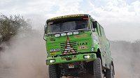 Marek Spáčil s kamiónem Liaz na trati Rallye Dakar.
