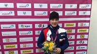 Rychlobruslařka Karolína Erbanová po vítězství v závodu na 500 metrů na ME ve víceboji v italském Collalbu.