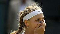 Tenistka Petra Kvitová se raduje z postupu do finále Wimbledonu