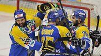 Hokejisté Ústí nad Labem se radují z vítězství