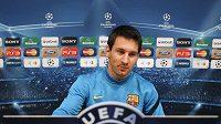 Lionel Messi z FC Barcelona na tiskové konferenci před zápasem Ligy mistrů proti Plzni.