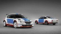 Jan Kopecký bude startovat v českém šampionátu ve fabii v retrodesignu, jímž Škoda připomene úspěchy vozu 130 RS (vpravo) na Rallye Monte Carlo.