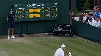 John Isner sedí na dvorci ve Wimbledonu v pátém setu v utkání proti Nicolasi Mahutovi z Francie.