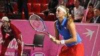 Tenistká Petra Kvitová během fedcupového utkání na belgické půdě