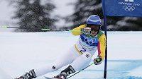 Viktoria Rebensburgová z Německa na trati slalomu.