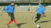 Kapitán plzeňských fotbalistů Pavel Horváth (vlevo) na tréninku před zápasem se Spartou.