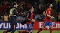 Javier Martínez (zcele vlevo)se raduje z lavičky po gólu Řecku.