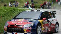 Francouzský pilot Sébastien Loeb během Bulharské rallye
