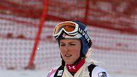 Lindsey Vonnová s ovázanou rukou po závodě v Lienzu
