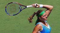 Petra Kvitová na turnaji v Torontu při utkání s Němkou Andreou Petkovicovou.