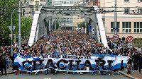 Fanoušci Baníku se valí Ostravou - ilustrační foto