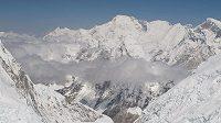 Pohled na ledopád Khumbu ze západní kotliny (West Cwm) pod Mount Everestem a Lhoce.