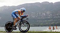 Britský cyklista Bradley Wiggins během časovky Tour de France