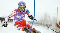 Česká lyžařka Šárka Záhrobská během slalomu v Ga-Pa