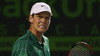 Český tenista Tomáš Berdych se raduje z vítězství nad Rogerem Federerem.