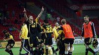 Radost fotbalistů Šeriffu Tiraspol po loňské remíze se Slavií a postupu do 4. předkola Ligy mistrů.