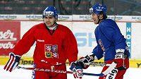 Tomáš Rolinek (vlevo) a Petr Průcha na srazu české hokejové reprezentace.