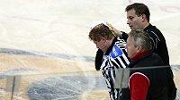Zraněnému hokejovému sudímu museli doktoři sešít ucho osmi stehy.