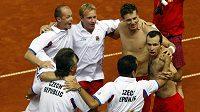 Český daviscupový tým po vítězství nad Chorvatskem