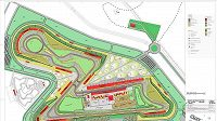 Plán okruhu Buddh International Circuit nedaleko indického Dillí.