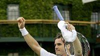 Německý tenista Tommy Haas se raduje z vítězství nad Igorem Andrejevem z Ruska a postupu do čtvrtfinále.
