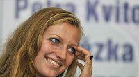 Petra Kvitová na pondělní tiskovce v Prostějově po příletu z Wimbledonu.