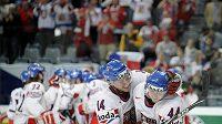 Radost českých hokejistů po výhře nad Kanadou