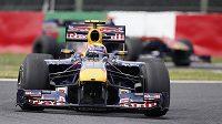 Red Bull s Markem Webberem na trati tréninku v japonské Suzuce.