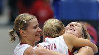 Obrovskou radost zažívaly české basketbalistky poté, co porazily Bělorusko a postoupily do finále.
