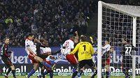 Fotbalista Bayeru Leverkusen Arturo Vidal (třetí zleva) dává vlastní gól do sítě Reneho Adlera v bundesligovém utkání s Hamburkem.