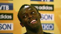 Jamajský sprinter Usain Bolt na tiskové konferenci