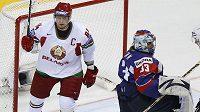 Grabovskij z Běloruska se raduje z branky proti Slovinsku.