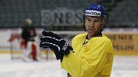 Petr Nedvěd na tréninku hokejové reprezentace