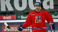 Hokejista Jan Marek na tréninku reprezentace